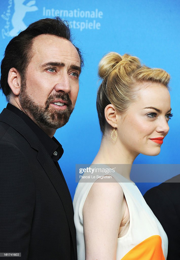 Actors <a gi-track='captionPersonalityLinkClicked' href=/galleries/search?phrase=Nicolas+Cage&family=editorial&specificpeople=196531 ng-click='$event.stopPropagation()'>Nicolas Cage</a> and <a gi-track='captionPersonalityLinkClicked' href=/galleries/search?phrase=Emma+Stone&family=editorial&specificpeople=672023 ng-click='$event.stopPropagation()'>Emma Stone</a> attend 'The Croods' Photocall during the 63rd Berlinale International Film Festival at the Grand Hyatt Hotel on February 15, 2013 in Berlin, Germany.