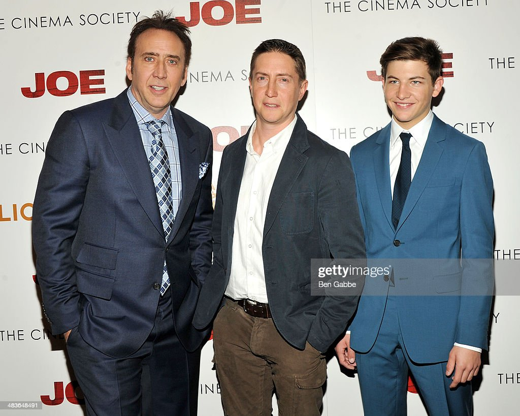 Actors Nicolas Cage and Tye Sheridon with director David Gordon Green at the 'Joe' screening hosted by Lionsgate And Roadside Attractions With The...