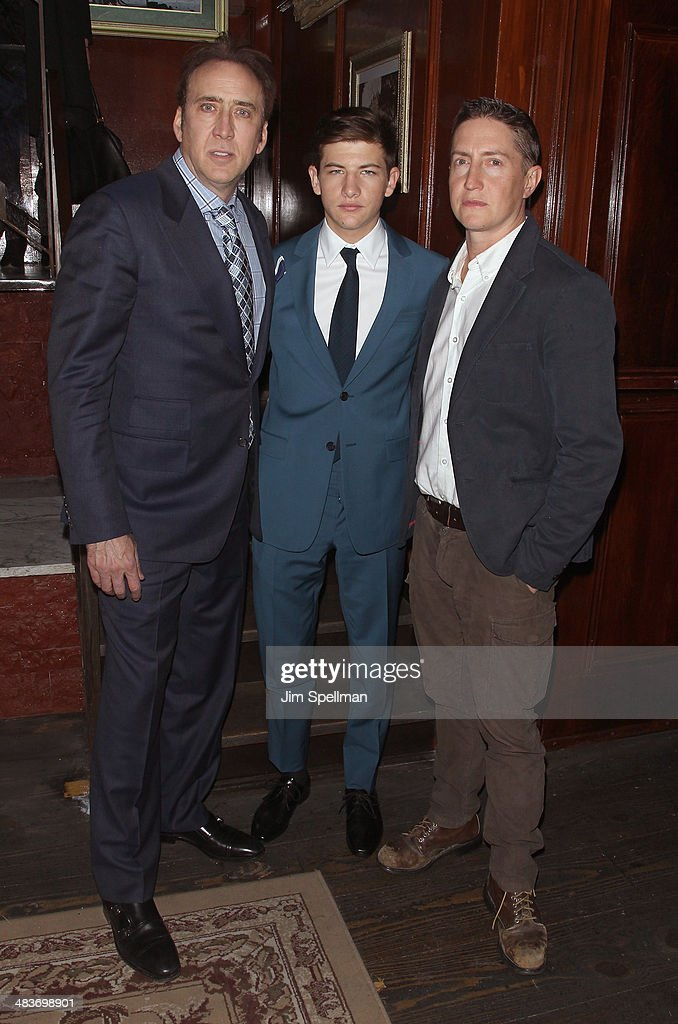 Actors Nicolas Cage Tye Sheridan and director David Gordon Green attend the Lionsgate Roadside Attractions with The Cinema Society premiere of 'Joe'...