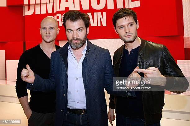 Actors Nicolas Gob Clovis Cornillac and Hugo Becker present the TV Series 'Chefs' during the 'Vivement Dimanche' French TV Show at Pavillon Gabriel...