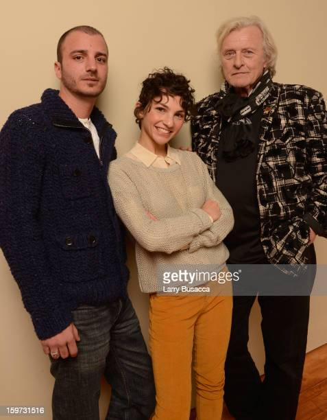 Actors Nicolas Vaporidis Manuela Martelli and Rutger Hauer pose for a portrait during the 2013 Sundance Film Festival at the Getty Images Portrait...