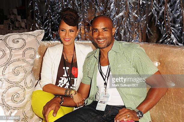 Actors Nicole Ari Parker and Boris Kodjoe attend day 1 of Backstage Creations Celebrity Gifting Suite during the 2013 BET Awards at LA LIVE on June...