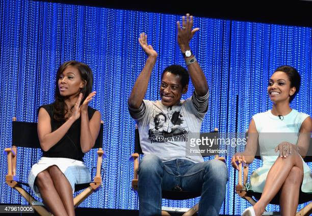 Actors Nicole Beharie Orlando Jones and Lyndie Greenwood on stage at The Paley Center for Media's PaleyFest 2014 Honoring 'Sleepy Hollow' at Dolby...