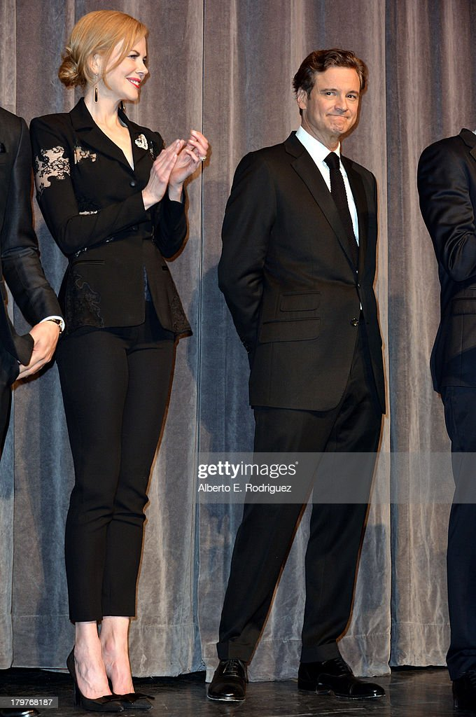 Actors <a gi-track='captionPersonalityLinkClicked' href=/galleries/search?phrase=Nicole+Kidman&family=editorial&specificpeople=156404 ng-click='$event.stopPropagation()'>Nicole Kidman</a> (L) and <a gi-track='captionPersonalityLinkClicked' href=/galleries/search?phrase=Colin+Firth&family=editorial&specificpeople=201620 ng-click='$event.stopPropagation()'>Colin Firth</a> speak at 'The Railway Man' Premiere during the 2013 Toronto International Film Festival at Roy Thomson Hall on September 6, 2013 in Toronto, Canada.