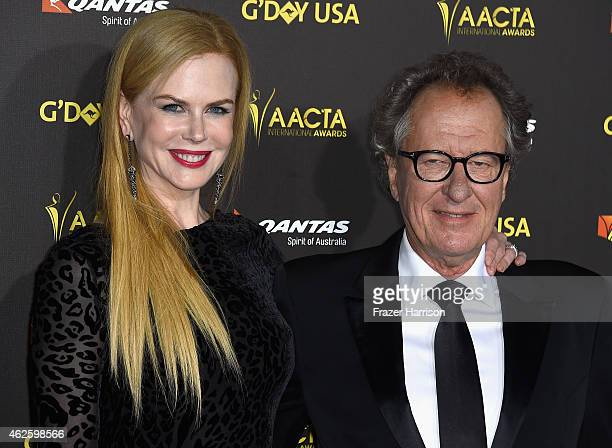 Actors Nicole Kidman and Geoffrey Rush arrive at the 2015 G'Day USA Gala Featuring The AACTA International Awards Presented By QANTAS at the...
