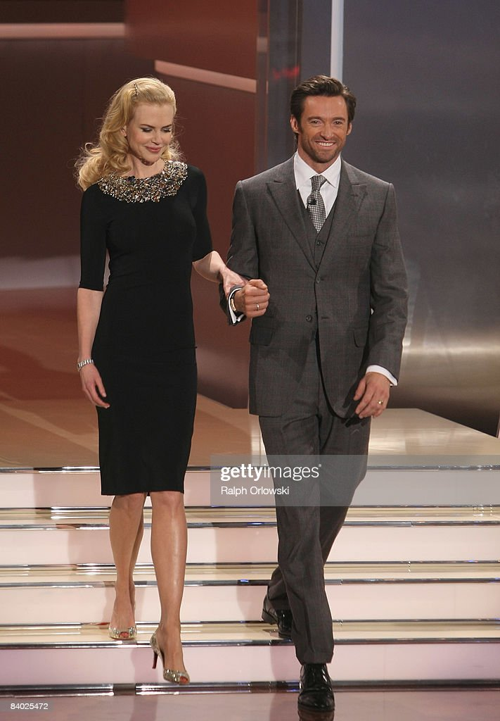 Actors Nicole Kidman and Hugh Jackman appear on stage during the live broadcast of the TV show 'Wetten dass' at the Messe Stuttgart on December 13...