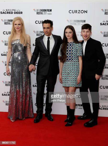 Actors Nicole Kidman Colin Farrell Barry Keoghan and Raffey Cassidy attend the Headline Gala Screening UK Premiere of 'Killing of a Sacred Deer'...