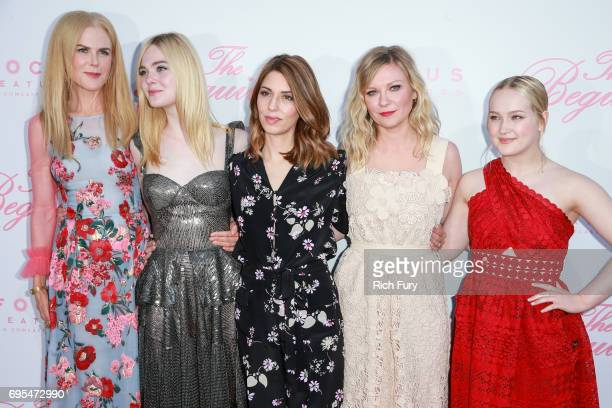 Actors Nicole Kidman Elle Fanning director Sofia Coppola actor Kirsten Dunst and actor Emma Howard attend the premiere of Focus Features' 'The...