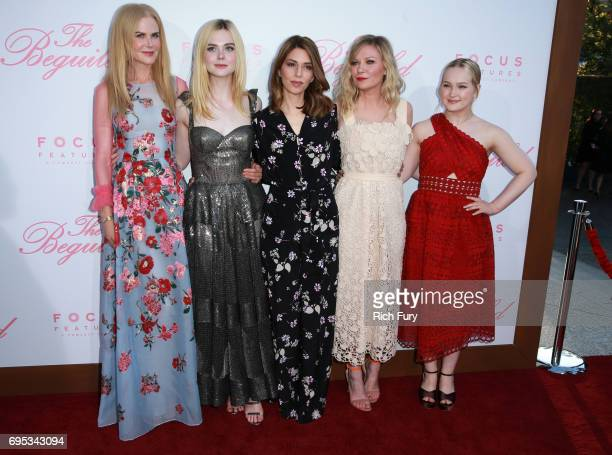 Actors Nicole Kidman Elle Fanning writer/director Sofia Coppola and actors Kirsten Dunst and Emma Howard attend the premiere of Focus Features' 'The...