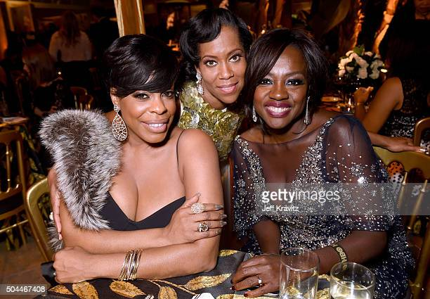 Actors Niecy Nash Regina King and Viola Davis attend HBO's Official Golden Globe Awards After Party at The Beverly Hilton Hotel on January 10 2016 in...