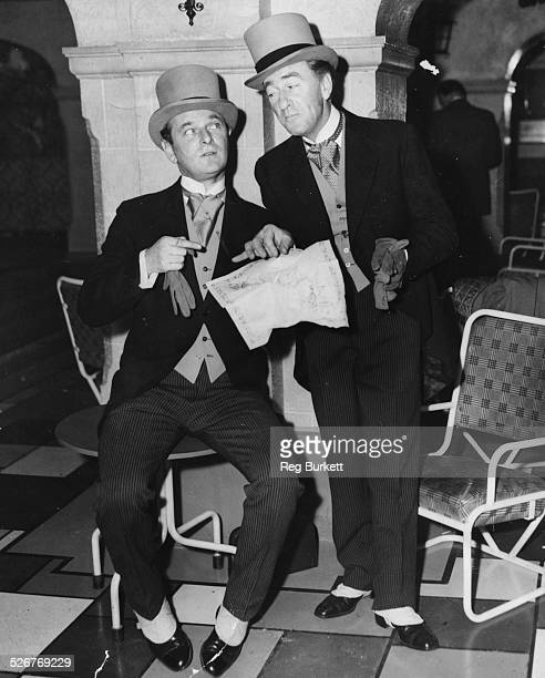 Actors Nigel Patrick and Dick Bentley wearing top hat and tails during rehearsals for the Royal Variety Performance London Palladium October 31st 1954