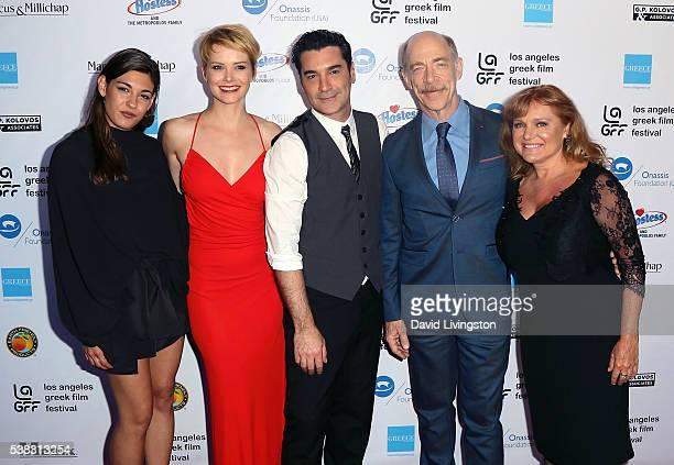Actors Niki Vakali Andrea Osvart Christoforos Papakaliatis JK Simmons and Maria Kavoyianni attend the 2016 LA Greek Film Festival premiere of 'Worlds...