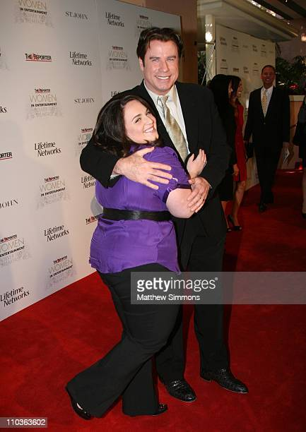 Actors Nikki Blonsky and John Travolta arrive at the Hollywood Reporter Breakfast celebrating the Power 100 list of women in entertainment at the...