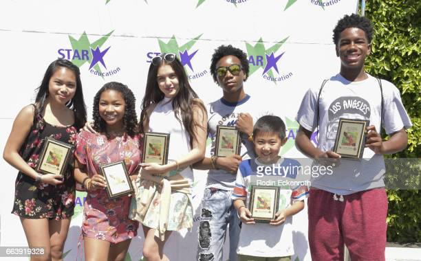 Actors Nikki Castillo Laya Deleon Hayes Lilimar Jaheem Toombs Evan Kishiyama and Prophet Bolden pose for portrait with awards at 17th Annual...