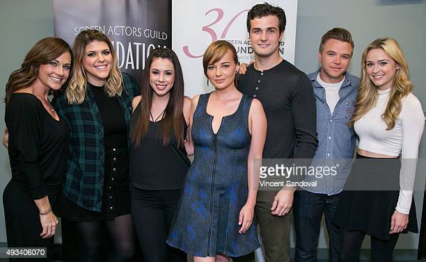 Actors Nikki Deloach Molly Tarlov Jillian Rose Reed Ashley Rickards Beau Mirchoff Brett Davern and Greer Grammer attend The SAG Foundation's...