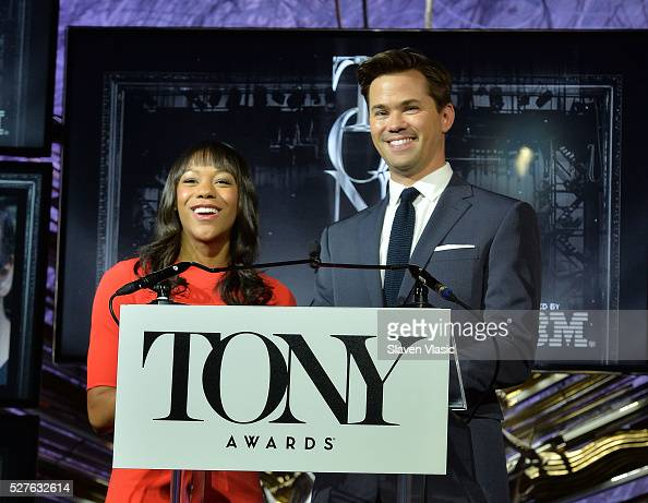 Actors Nikki M James and Andrew Rannells announce nominations for American Theatre Wing's 70th Annual Tony Awards at Diamond Horseshoe at the...