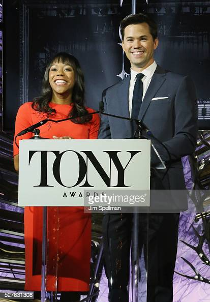 Actors Nikki M James and Andrew Rannells attend the American Theatre Wing's 70th Annual Tony Awards nominations at Diamond Horseshoe at the Paramount...