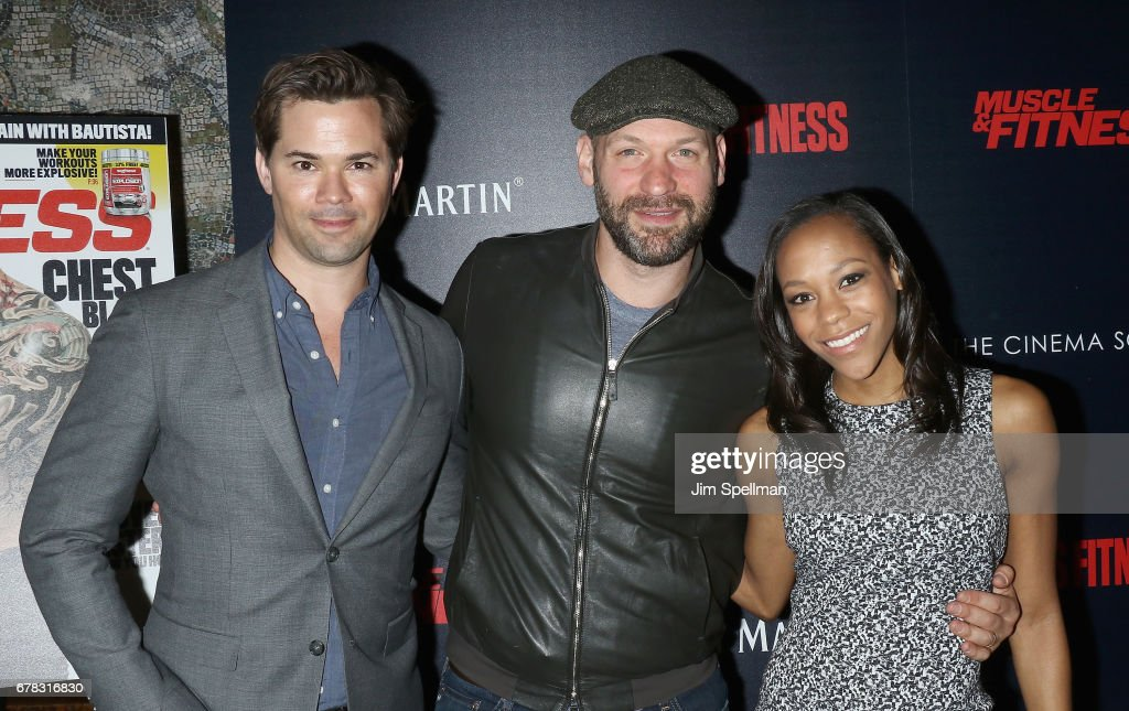 Actors Nikki M. James, Corey Stoll and Andrew Rannells attend the screening of Marvel Studios' 'Guardians Of The Galaxy Vol. 2' hosted by The Cinema Society at the Whitby Hotel on May 3, 2017 in New York City.