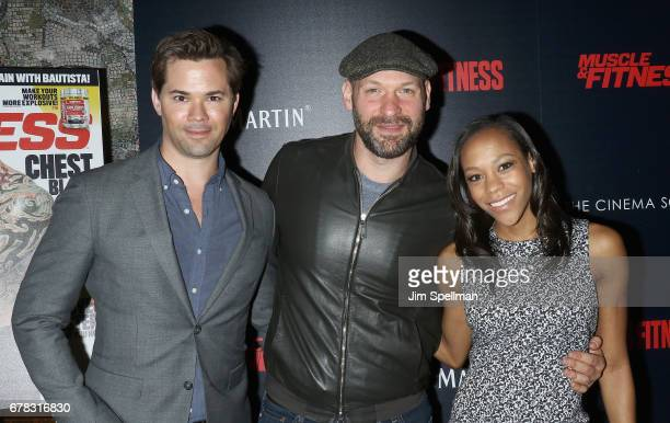 Actors Nikki M James Corey Stoll and Andrew Rannells attend the screening of Marvel Studios' 'Guardians Of The Galaxy Vol 2' hosted by The Cinema...