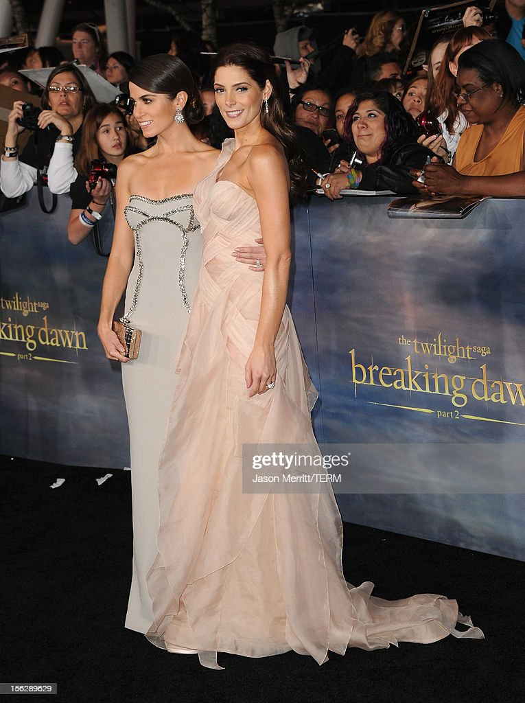 Actors Nikki Reed and Ashley Greene arrive at the premiere of Summit Entertainment's 'The Twilight Saga: Breaking Dawn - Part 2' at Nokia Theatre L.A. Live on November 12, 2012 in Los Angeles, California.