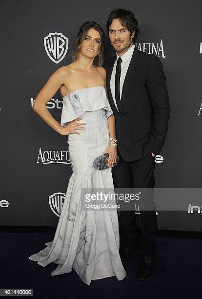 Actors Nikki Reed and Ian Somerhalder arrive at the 16th Annual Warner Bros And InStyle PostGolden Globe Party at The Beverly Hilton Hotel on January...