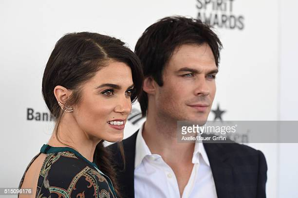 Actors Nikki Reed and Ian Somerhalder arrive at the 2016 Film Independent Spirit Awards on February 27 2016 in Los Angeles California