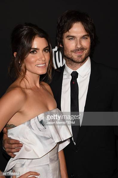 Actors Nikki Reed and Ian Somerhalder attend the 2015 InStyle And Warner Bros 72nd Annual Golden Globe Awards PostParty at The Beverly Hilton Hotel...