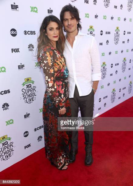 Actors Nikki Reed and Ian Somerhalder attend XQ Super School Live presented by EIF at Barker Hangar on September 8 2017 in Santa California