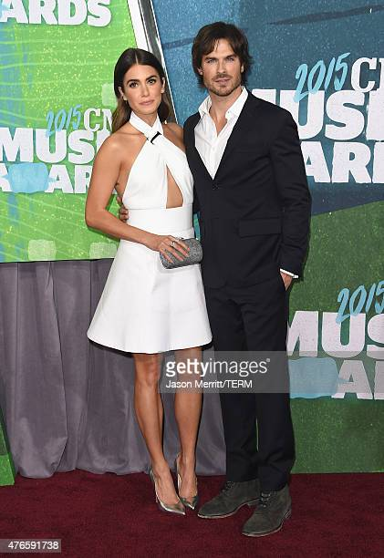 Actors Nikki Reed and Ian Somerhalder attends the 2015 CMT Music awards at the Bridgestone Arena on June 10 2015 in Nashville Tennessee
