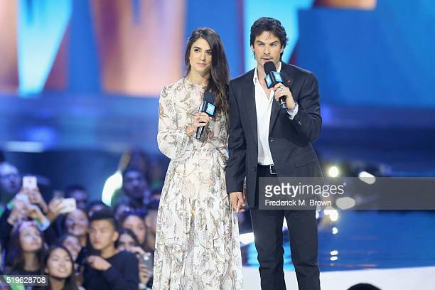 Actors Nikki Reed and Ian Somerhalder speak onstage at WE Day California 2016 at The Forum on April 7 2016 in Inglewood California