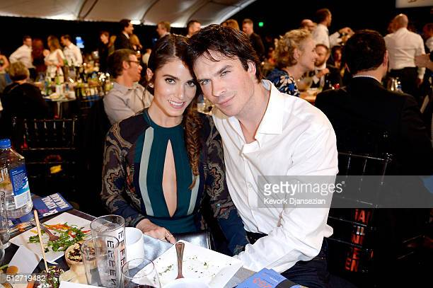 Actors Nikki Reed and Ian Somerhalder speak onstage during the 2016 Film Independent Spirit Awards on February 27 2016 in Santa Monica California