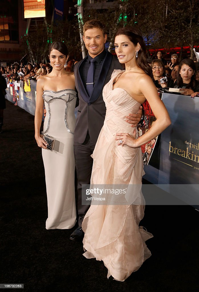 Actors Nikki Reed, Kellan Lutz, and Ashley Greene arrive at 'The Twilight Saga: Breaking Dawn - Part 2' Los Angeles premiere at Nokia Theatre L.A. Live on November 12, 2012 in Los Angeles, California.