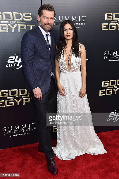 Actors Nikolaj CosterWaldau and Elodie Yung attend the 'Gods Of Egypt' New York Premiere at AMC Loews Lincoln Square 13 on February 24 2016 in New...