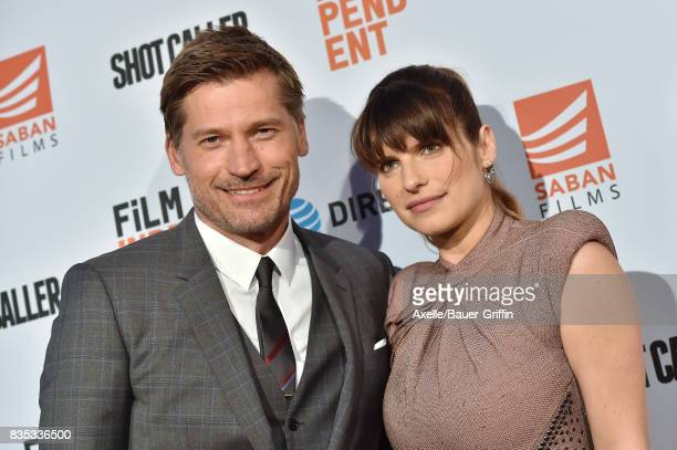 Actors Nikolaj CosterWaldau and Lake Bell arrive at the premiere of 'Shot Caller' at The Theatre at Ace Hotel on August 15 2017 in Los Angeles...