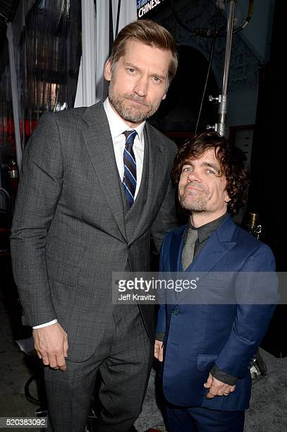 Actors Nikolaj CosterWaldau and Peter Dinklage attend the premiere for the sixth season of HBO's 'Game Of Thrones' at TCL Chinese Theatre on April 10...
