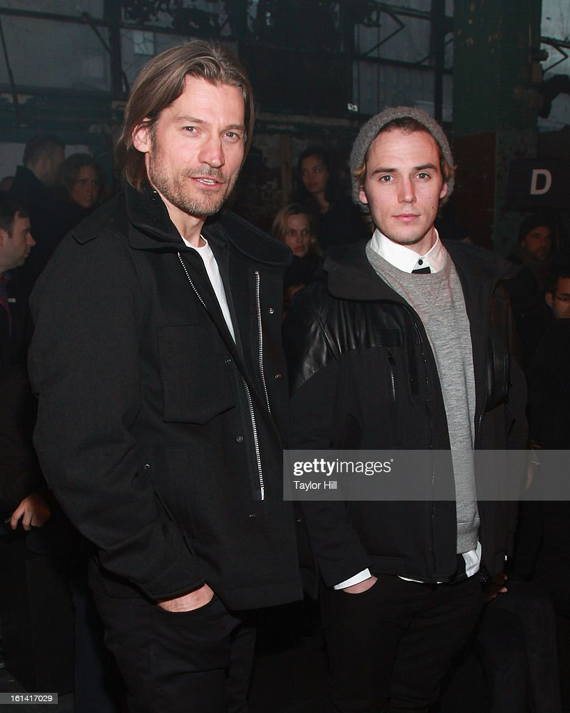 Actors Nikolaj Coster-Waldau and <a gi-track='captionPersonalityLinkClicked' href=/galleries/search?phrase=Sam+Claflin&family=editorial&specificpeople=7238693 ng-click='$event.stopPropagation()'>Sam Claflin</a> attend the Y-3 Fall 2013 Mercedes-Benz Fashion Show at 80 Essex Street on February 10, 2013 in New York City.