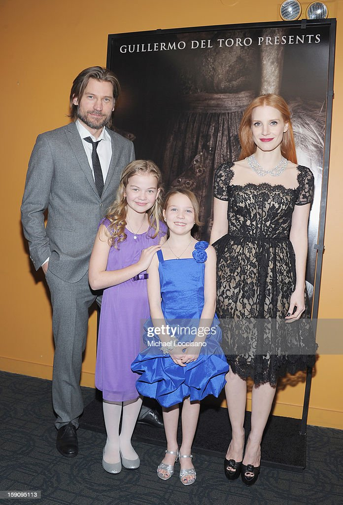 Actors Nikolaj Coster-Waldau, Megan Charpentier, Isabelle Nelisse and <a gi-track='captionPersonalityLinkClicked' href=/galleries/search?phrase=Jessica+Chastain&family=editorial&specificpeople=653192 ng-click='$event.stopPropagation()'>Jessica Chastain</a> attend the 'Mama' New York Screening at Landmark's Sunshine Cinema on January 7, 2013 in New York City.