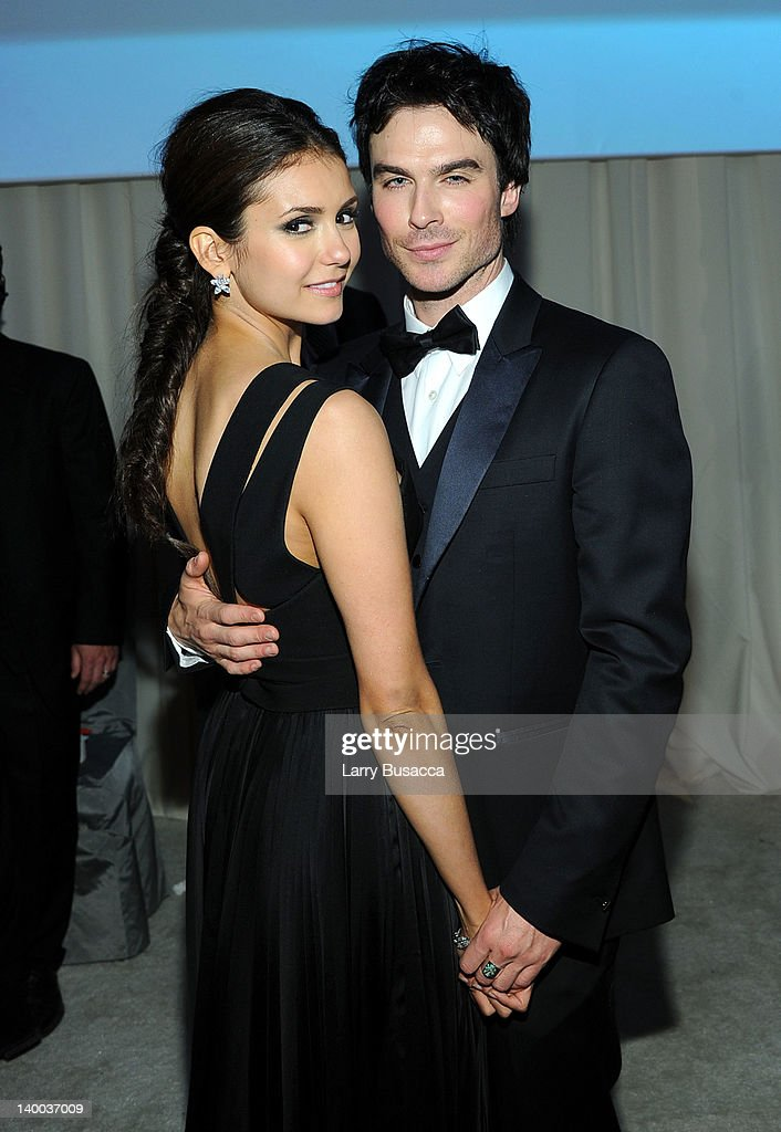 Actors <a gi-track='captionPersonalityLinkClicked' href=/galleries/search?phrase=Nina+Dobrev&family=editorial&specificpeople=4397485 ng-click='$event.stopPropagation()'>Nina Dobrev</a> and <a gi-track='captionPersonalityLinkClicked' href=/galleries/search?phrase=Ian+Somerhalder&family=editorial&specificpeople=614226 ng-click='$event.stopPropagation()'>Ian Somerhalder</a> attend the 20th Annual Elton John AIDS Foundation Academy Awards Viewing Party at The City of West Hollywood Park on February 26, 2012 in Beverly Hills, California.