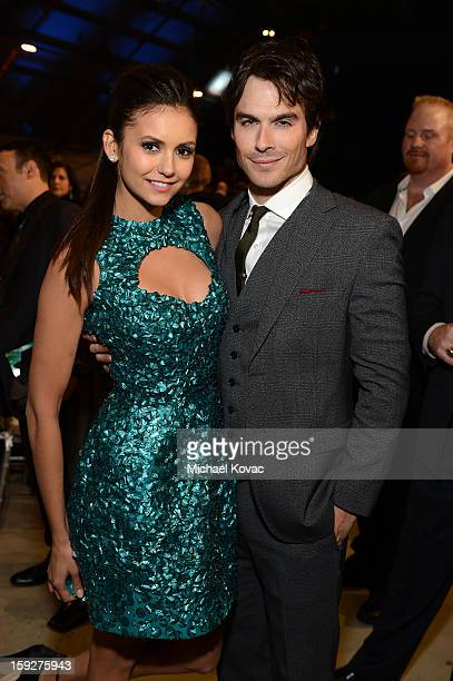 Actors Nina Dobrev and Ian Somerhalder attend the Critics' Choice Movie Awards 2013 with Skinnygirl Cocktails at Barkar Hangar on January 10 2013 in...