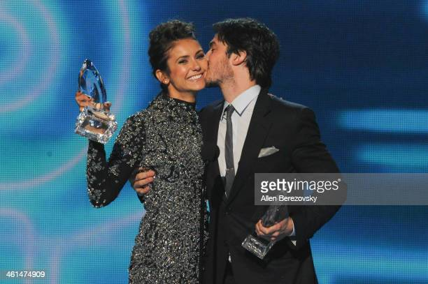 Actors Nina Dobrev and Ian Somerhalder winners of the Favorite On Screen Chemistry award for 'The Vampire Diaries' speak onstage at the 40th Annual...