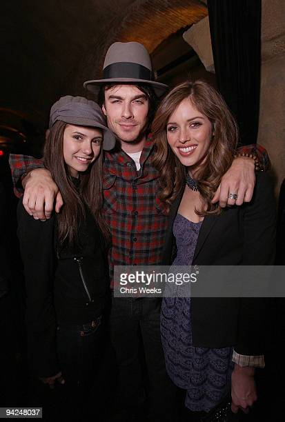Actors Nina Dobrev Ian Somerhalder and Kayla Ewell attends the NYLON Guys AllSaints Holiday Issue Launch and Thirty Seconds to Mars record release...