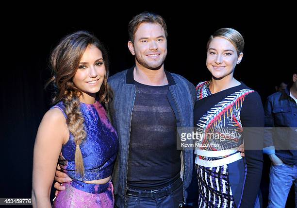 Actors Nina Dobrev Kellan Lutz and Shailene Woodley attend FOX's 2014 Teen Choice Awards at The Shrine Auditorium on August 10 2014 in Los Angeles...