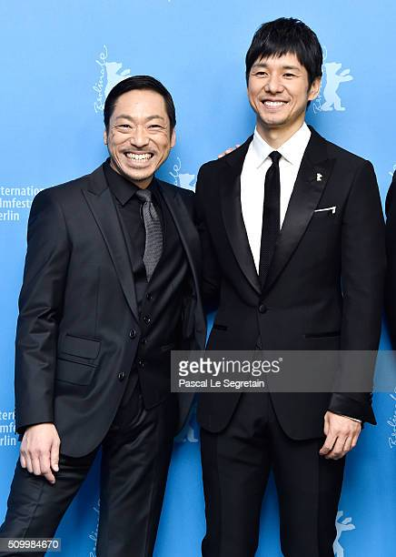 Actors Nishijima Hidetoshi and Teruyuki Kagawa attend the 'Creepy' photo call during the 66th Berlinale International Film Festival Berlin at Grand...