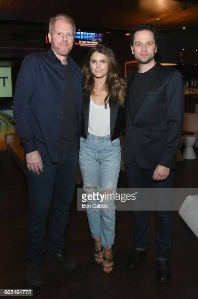 Actors Noah Emmerich Keri Russell and Matthew Rhys attend 8th Annual FX AllStar bowling party at Lucky Strike on April 6 2017 in New York City
