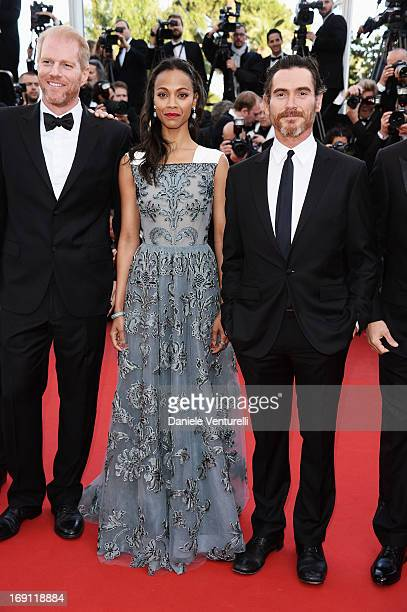 Actors Noah Emmerich Zoe Saldana and Billy Crudup attend the Premiere of 'Blood Ties' during the 66th Annual Cannes Film Festival at the Palais des...
