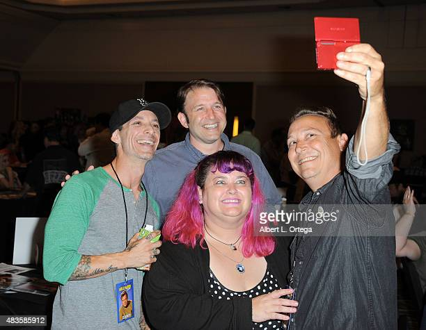 Actors Noah Hathaway Ilan Mitchell Smith Pinky Coogan and Keith Coogan on day 2 of The Hollywood Show held at The Westin Hotel LAX on August 1 2015...