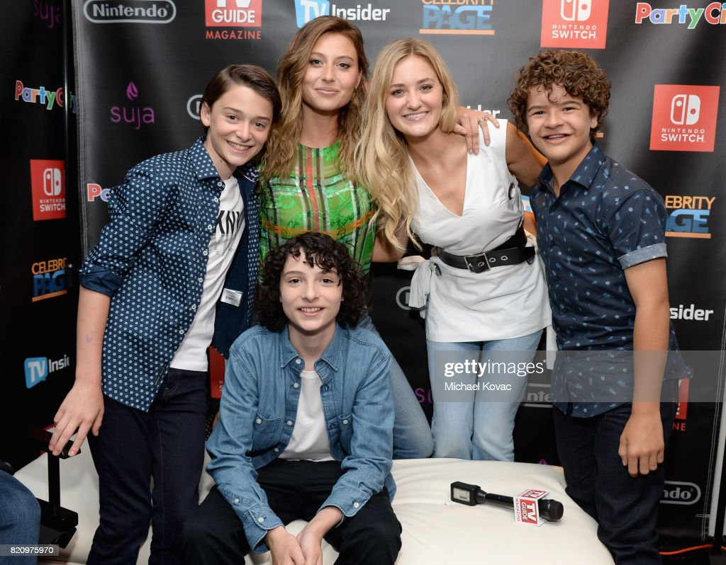 Actors Noah Schnapp, Aly Michalka, AJ Michalka, Caleb McLaughlin, and Finn Wolfhard stopped by Nintendo at the TV Insider Lounge to check out Nintendo Switch during Comic-Con International at Hard Rock Hotel San Diego on July 22, 2017 in San Diego, California.