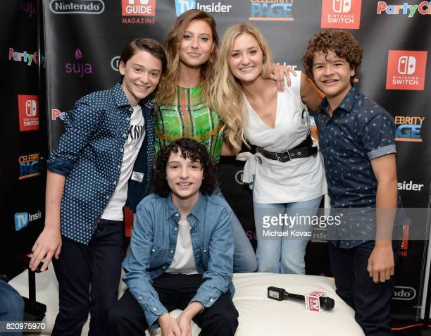 Actors Noah Schnapp Aly Michalka AJ Michalka Caleb McLaughlin and Finn Wolfhard stopped by Nintendo at the TV Insider Lounge to check out Nintendo...