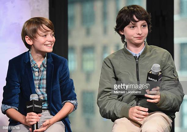 Actors Noah Schnapp and Finn Wolfhard of 'Stranger Things' attend the BUILD Series at AOL HQ on August 31 2016 in New York City