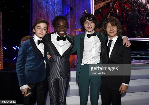 Actors Noah Schnapp Caleb McLaughlin Finn Wolfhard and Gaten Matarazzo attend The 23rd Annual Screen Actors Guild Awards Cocktail Reception at The...